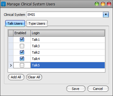Manage Clinical System Users